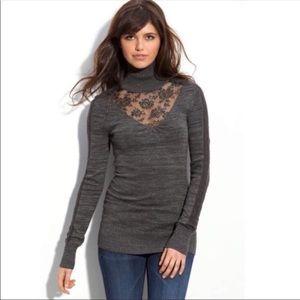Free People Lace Turtleneck Long Sleeve Sweater